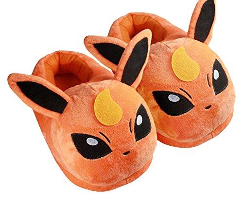 Katara - Pantofole e Ciabatte Morbidissime Calde Invernali Ppeluche Pokemon per Casa, Cosplay o Feste Halloween - Taglia Unica - Flareon (Rosso)