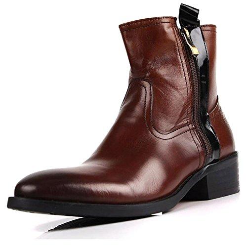 Men 's British Leather per il tempo libero Zipper Martin stivali all'aperto , brown , 38