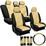 OxGord 17pc Leatherette Seat Cover Set, Airbag Compatible, for TOYOTA CORONA, Tan & Black