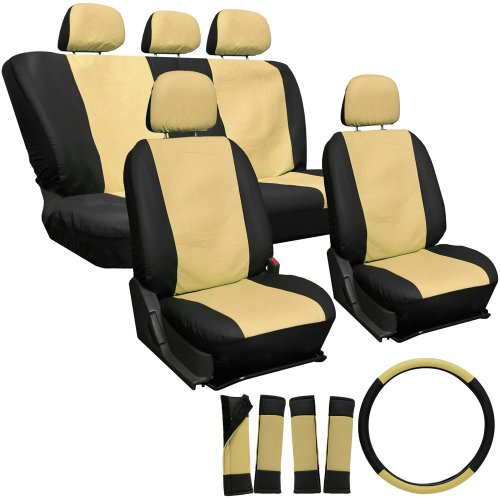 Oxgord 17Pc Leatherette Seat Cover Set, Airbag Compatible, For Bmw 328I, Tan & Black front-1086148