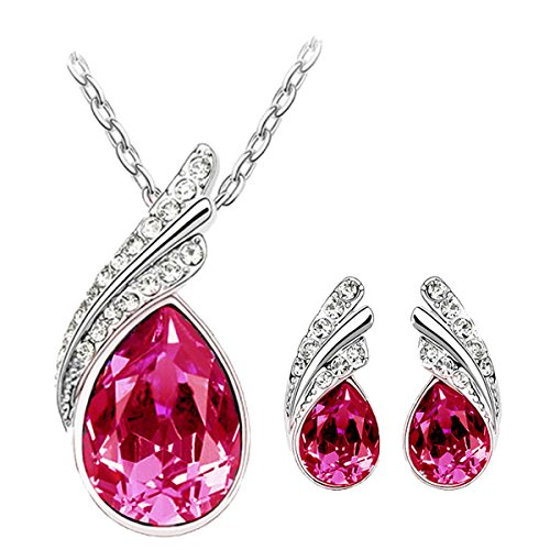 Cyan Pink Austrain Crystal Necklace Set With Earrings For Women.  available at amazon for Rs.399