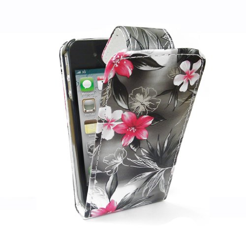StyleBitz / iPhone 4 / 4S / stilvolle pink & black floral Stoff Flip fall / neu