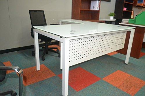 Modern Tempered Universal L- Desk 3/4