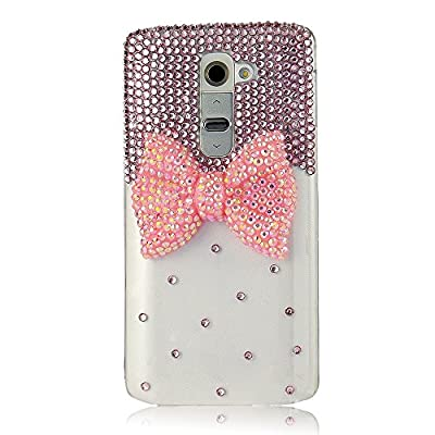 Evtech(tm) Pink Bowknot Bead Ruby Diamond Rhinestone Crystal Glitter Fashion Style Clear Lucency Transparency Back Cover Cell Phone Case Present Gift Lover for Lg G3 D855 D850 D851(100% Handcrafted) by EVTECH