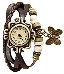 JAINX Leather Bracelet Rakhi Style Fashionable Watch - Analog Display -Creamy Dial - for Girls,Women and Kids.JW1021