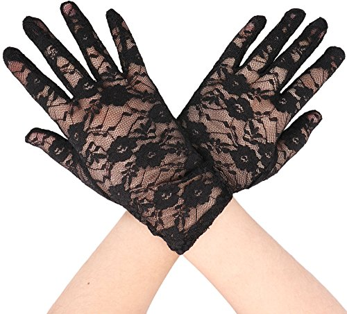 Simplicity Stretch Gloves Sheer Lace, Wrist Length Special Occasion Wear, Black