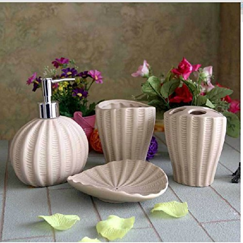 Mediterranean Style shells 4 piece Bath of Ceramic ,With Soap Dish, Lotion Dispenser, Toothbrush Holder & Tumbler mediterranean resort 4 паралия катерини пиерия