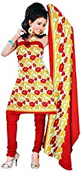 Majaajan Women's Cotton Self Print Unstitched Salwar Suit Dress Material (BNSL0662RED, Red, Freesize)
