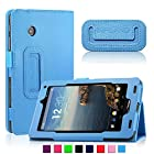 Infiland Folio PU Leather Slim Fit Stand Case Cover for 7inch Verizon Ellipsis 7 4G LTE Tablet,Blue