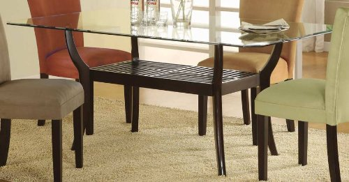 Cheap Modern Rectangle Glass Top Dining Table by Coaster (101491-SET)