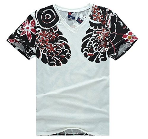 Japanese Traditional Tattoo Style T-shirt Costume [ White M Size ]