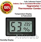 Digital Mini Instant-Read Temperature (Fahrenheit) & Humidity Gauge Thermometer (Hygrometer) - Most popular applications for Cars, Incubators and Brooders
