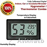 Digital Mini Instant-Read Temperature & Humidity Gauge Thermometer (Hygrometer) - Most popular applications for Cars, Incubators and Brooders