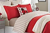 Martha Stewart Gallery Tile Flannel King Duvet Cover Red