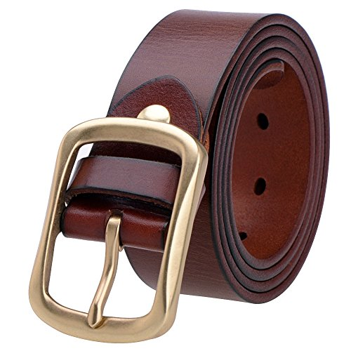 """Vbiger 1 1/2"""" (38 mm) Smooth Genuine Leather Belt with Detachable Brass Buckle (one size, Black)"""