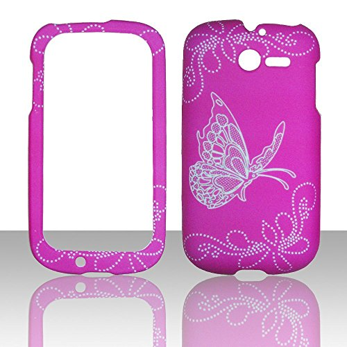 2d-butterfly-on-hotpink-huawei-ascend-y-m866-tracfone-uscellular-case-cover-hard-phone-case-snap-on-