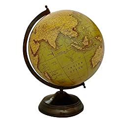 EnticeSelections Antique Handicrafted Big Desktop Rotating Globe Earth Geography World Globes Ocean Table Décor 10 Inch