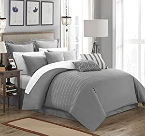 Chic Home 9 Piece Brenton Super Rich Microfiber Stitch Embroidered Comforter, Queen, Grey