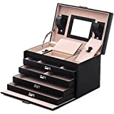 Songmics Black Leather Jewelry Box Lockable Jewelry Case with Mirror and Storage Drawers UJBC001