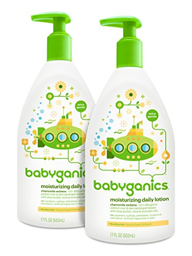 Babyganics Daily Baby Lotion, Chamomile Verbena, 17 Ounce (Pack of 2) - 1