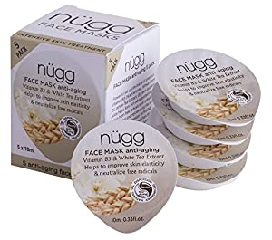 Nugg Beauty Anti Aging Mask - Vitamin B3 & White Tea Extract - 1.65 oz - 5 ct