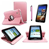 360 Degree Rotating Cover Case for Samsung Galaxy Tab 2 7.0 7-inch Tablet, Pink with Multi-angle Stand Sheath with Screen Protector and Stylus Bundle