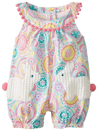 Mud Pie Baby-Girls Newborn Bunny Pocket Romper, Multi, 6-9 Months