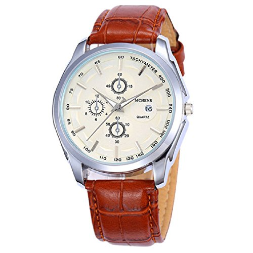 Aokdis (Tm) Hot Selling High Quality Men Round Dial Leather Strap Date Watch Quartz Watches