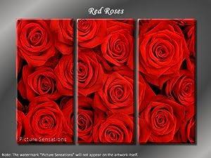 Picture Sensations Framed Huge 3-Panel Modern Art Floral Red Roses Giclee Canvas Print