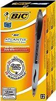 Bic Atlantis Stylo à bille rechargeable rétractable Pointe large Encre Noire Corps transparent et grip Lot de 12
