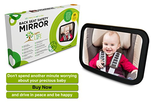 #1 Back Seat Mirror | Baby Car Mirror to see Baby in Rear Facing Car Seat | FREE ($6 Value) BONUS A 'Baby in Car' Decal Sticker | Premium Quality with Five Star Safety | ELEGANT GIFT BOX DESIGN | Crystal Clear Head to Toe View through your Rear View Mirr good quality baby car basket type safety seat 0 13kg newborn baby use