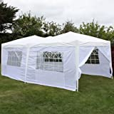 Andes 6x3m White Folding Pop-Up Waterproof Garden Gazebo With Side Walls And 1 Door