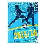 """Schülerkalender Prismalux A6  """"Fußball, blau"""": August 2015 - Dezember 2016"""
