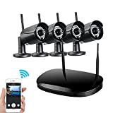 Network Video Security System, UOKOO HD 720P Video Security System with 4 Weatherproof Outdoor/Indoor Bullet IP Cameras, 98ft Night Vision and 1 PC of 4-Chanel Wireless NVR Kit (Black)