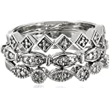 Sterling Silver Diamond Accent 3 Piece Stackable Ring