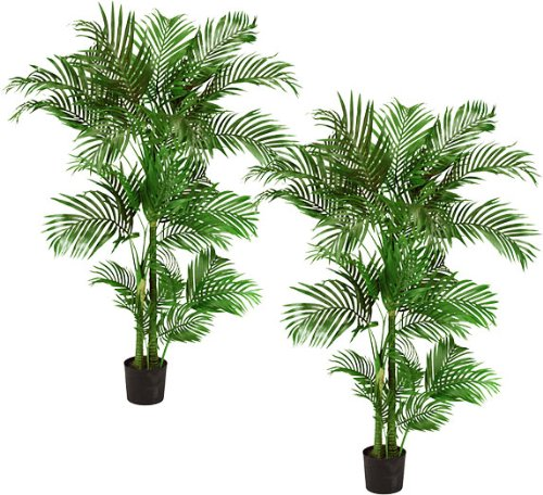 TWO Pre-Potted 5′ Artificial King Areca Palm Trees