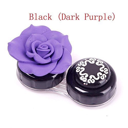 Flower Shaped Plastic Travel Colored Contact Lenses Case Storage Dark Purple (Cheap Colored Contact Lenses compare prices)