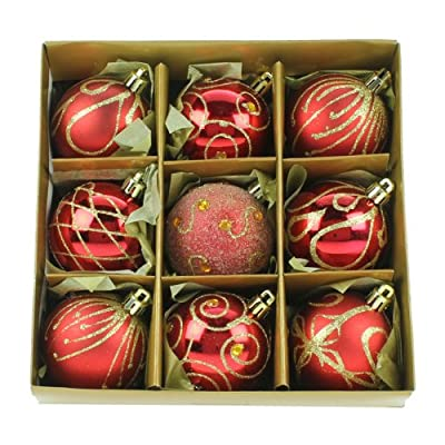 Set of Nine Red & Gold Shatterproof Christmas Tree Baubles 6cm