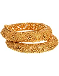 JFL - Traditional And Ethnic One Gram Gold Plated Kada With Intricate Craftmanship.(Openable)