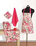 Swayam Grillz Printed Cotton 6 Piece Kitchen Linen Set - Pink (KS06-1428 )