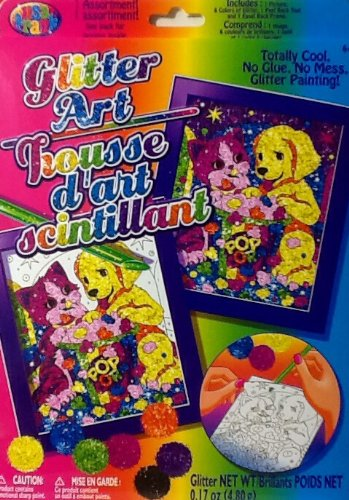 Lisa Frank Glitter Art ~ Glitter By Number ~ Complete with 8 Colors ~ Kitty & Puppy