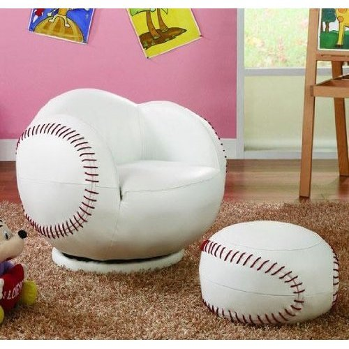 2pc Small Kid's Swivel Chair and Ottoman Set with Baseball Design