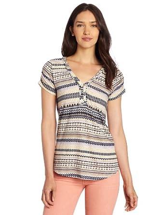 Lucky Brand Women's Canyon Stripe Top, Purple/Multi, X-Small