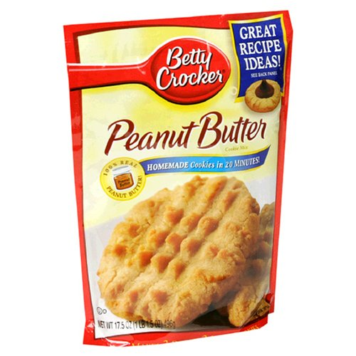 Betty Crocker Cookie Mix, Peanut Butter, 17.5-Ounce Pouches (Pack of 12) by Betty Crocker