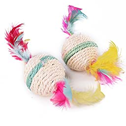 Nugoo 2PCS Multicolor Round Sisal Rope Ball Rattle Scrather Pet Toy With Feather