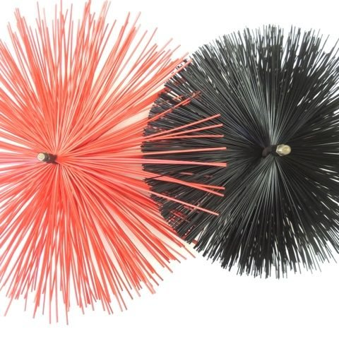 Super Stiff Red Poly Round UJ Spiral Brush with Threads - 12 x 8