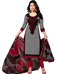 Poshvariety Printed Poly Cotton Unstitched Dress Material - Poshcombo20