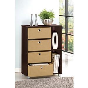 Furinno 11159EX/BR (99998E) Multipurpose Storage Shelves Cabinet Dresser with 4 Bin-Type Drawers, Espresso Finish