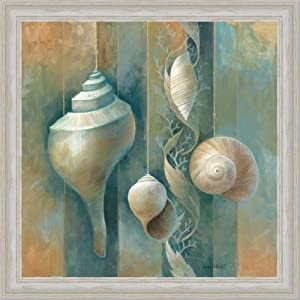 Amazon.com - Blue Seashells Bath Room Spa Decor I Art Print Framed
