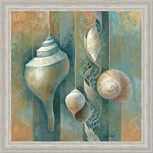Amazon.com - Blue Seashells Bath Room Spa Decor I Art Print Framed